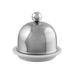 Service en salle Porcelain butter dish with stainless steel lid