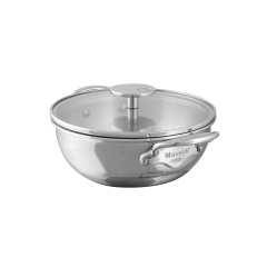 M'cook stainless steel Curved splayed saute pan with glass lid